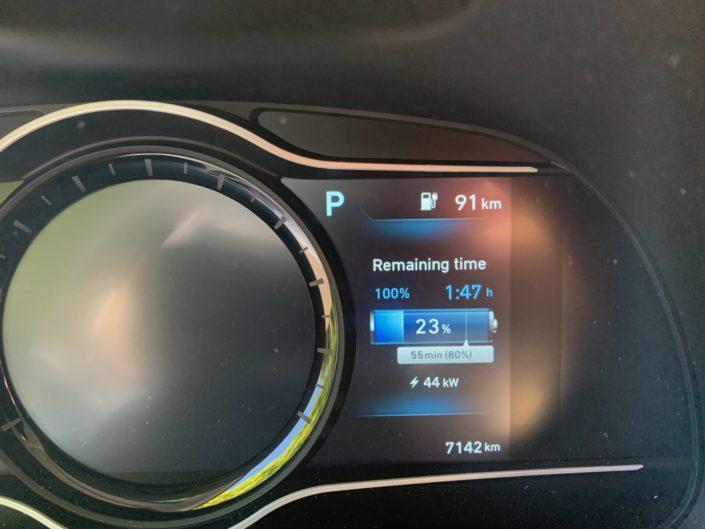 Charging screen of Hyundai Kona Electric